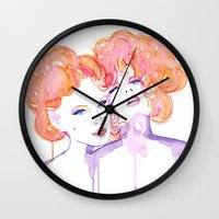 gustav klimt Wall Clocks featuring Klimt Mistresses by Nicola MacNeil