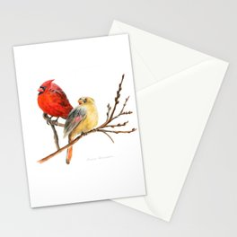 The Perfect Pair - Male and Female Cardinal by Teresa Thompson Stationery Cards