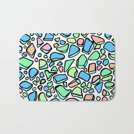 Sea Glass - Blues Aqua Green on White Bath Mat