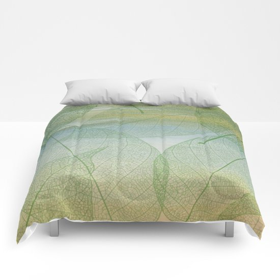 Delicate Painterly Leaves Comforters