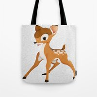 bambi Tote Bags featuring Bambi by MandiMccl