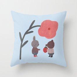 Strawberry friends Throw Pillow