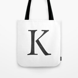 Letter K Initial Monogram Black and White Tote Bag