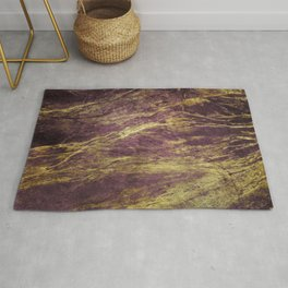 Classic Vintage Eggplant-Plum Faux Marble With Gold Veins Rug