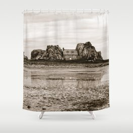House between rocks in Brittany in black and white Shower Curtain