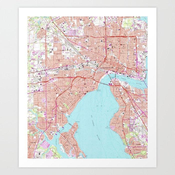 image relating to Printable Map of Jacksonville Fl referred to as Classic Map of Jacksonville Florida (1964) Artwork Print via bravuramedia