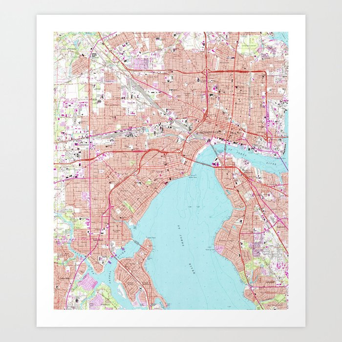Jacksonville Florida Map.Vintage Map Of Jacksonville Florida 1964 Art Print By Bravuramedia