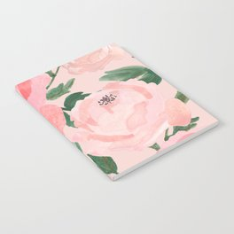 Watercolor Peonies with Blush Background Notebook