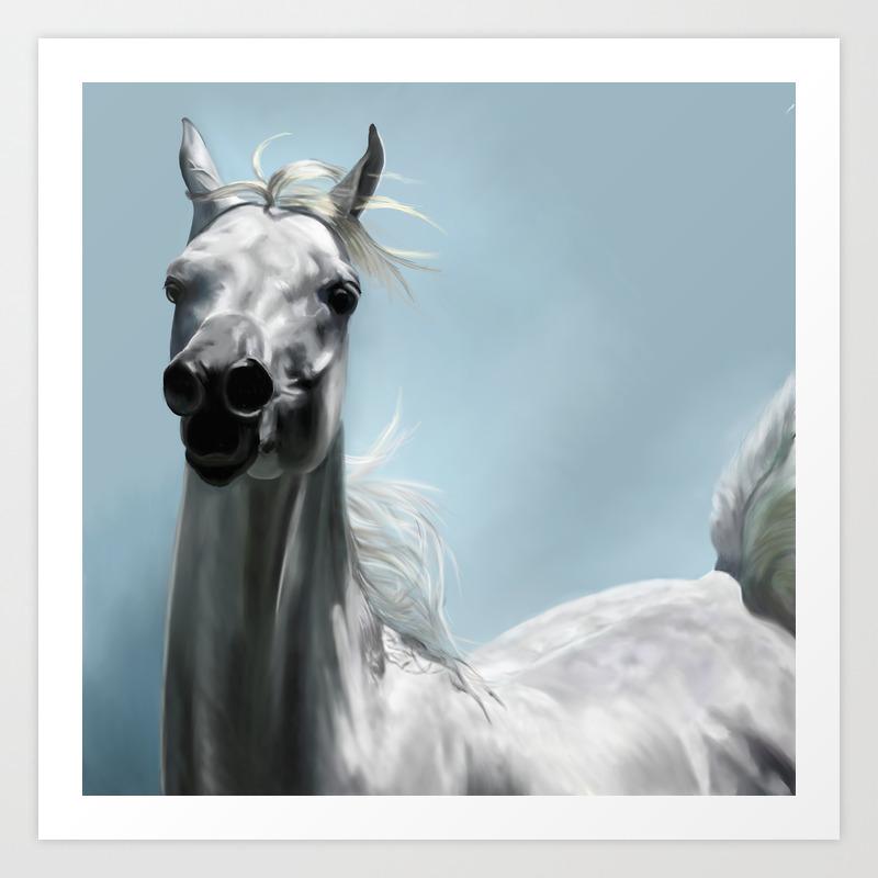 Arabian White Horse Painting Art Print By Limitlessdesign Society6