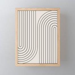 Minimal Line Curvature - Black and White I Framed Mini Art Print