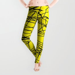 Yellow with black scribbling lines, less is more Leggings