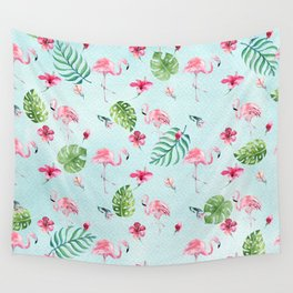 Watercolor blue green tropical floral pink flamingo Wall Tapestry