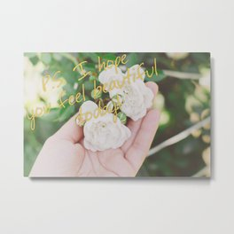 Motivation card on background of two white roses in female hand Metal Print