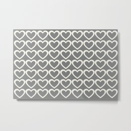 Cute Hearts Pattern Grey Metal Print