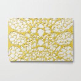 Yellow on white, organic abstraction Metal Print