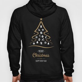 Vintage Black and Gold Christmas Tree Design. Hoody