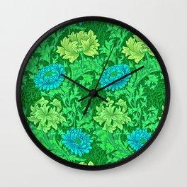 William Morris Chrysanthemums, Lime Green & Aqua Wall Clock