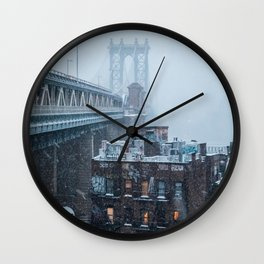 Snowstorm hits Manhattan Bridge Wall Clock