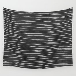 Hand Drawn Lines - White Dark Gray Wall Tapestry