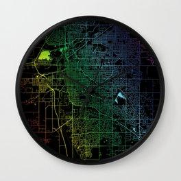 Lincoln, NE, USA City, Map, Rainbow, Map, Art, Print Wall Clock