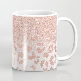 Trendy modern faux rose gold glitter ombre leopard pattern Coffee Mug