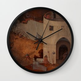 "Hieronymus Bosch ""The Last Judgment"" triptych (Bruges) right panel Wall Clock"