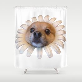 Flower Doggo Shower Curtain