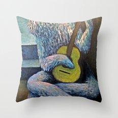 The Furry Guitarist Throw Pillow