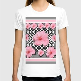 "Grey ""Art Deco"" Cherry Blossom Pattern Art T-shirt"