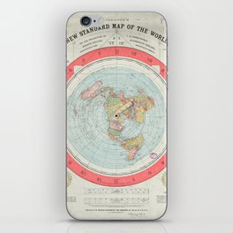 Flat Earth Society Wall Map iPhone Skin