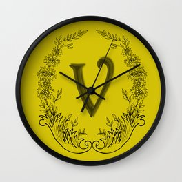 the letter v in a leaves and flowers Wall Clock