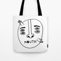 mouth Tote Bags featuring Mouth by Erik Walker