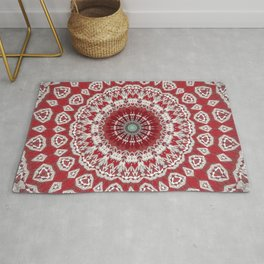 Red White Bohemian Mandala Design Rug
