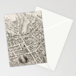 Vintage Pictorial Map of Marlborough MA (1878) Stationery Cards