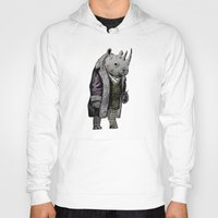 suits Hoodies featuring Animals in Suits - Black Rhino by Katadd