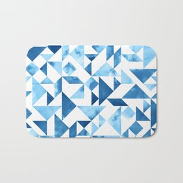 Blue Tangram Composition Bath Mat