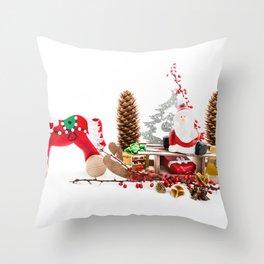 Santa Claus on wooden sled Throw Pillow