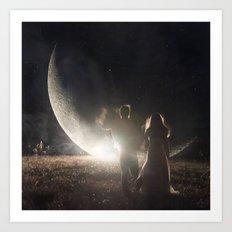 Fallen moon Art Print