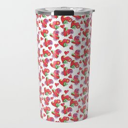 Lots of Love Hearts and Flowers Art Pattern Travel Mug