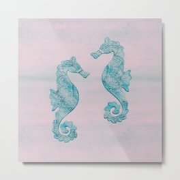 Teal And Pink Seahorse Couple Underwater Magic Metal Print