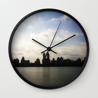 central park Wall Clocks featuring Central Park by Isobel Rae