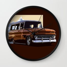 Old Chevy Ilustration Wall Clock