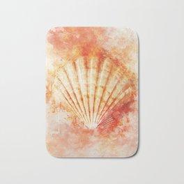 Tropical Ocean Sea Shell Watercolor Painting Bath Mat
