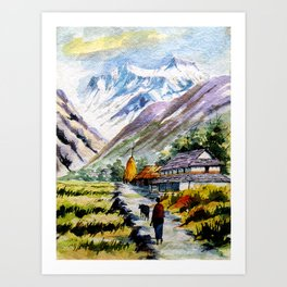 Long Walk By The Mountain Art Print