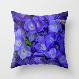 Bunch of Blue Bell Flowers Throw Pillow