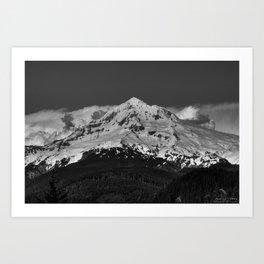 Mt Hood, Black and White Art Print