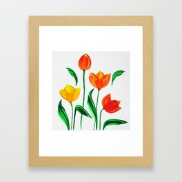 Tulips in Watercolor / One Stroke Technique Framed Art Print
