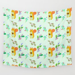 Cute hand painted yellow orange squirrel teal coral floral pattern Wall Tapestry
