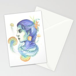 Mermaid Woman With Jellyfish Stationery Cards