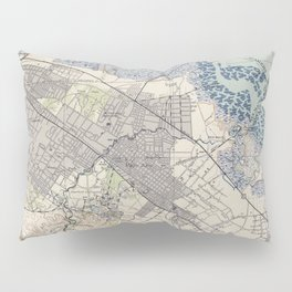 Old Map of Palo Alto & Silicon Valley CA (1943) Pillow Sham